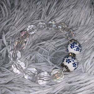 Iridescent beaded bracelet— handmade